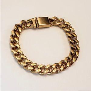 Cuban link bracelet stainless steel gold